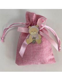 Fabien -Sacchetto  Porta Confetti  Juta con Orso Peluche rosa 13A09-3R