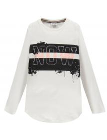 Fronte T-shirt lunga in jersey mano daino Bianco 193MIFLl003 002 Mek