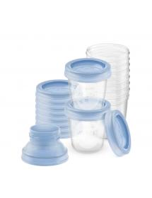 Set contenitori per latte materno  con adattatore ( Sistema Via ) SCF618/10