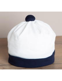 Aletta - Cappello nascita panna con dettagli blu RM000058F