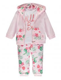 Brums - Tuta 3 pezzi felpina top full zipp + pantalone fiori 211beep002 013