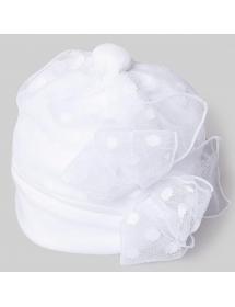 Aletta - Cappellino cotone bianco con pois bianchi ra21025 t102